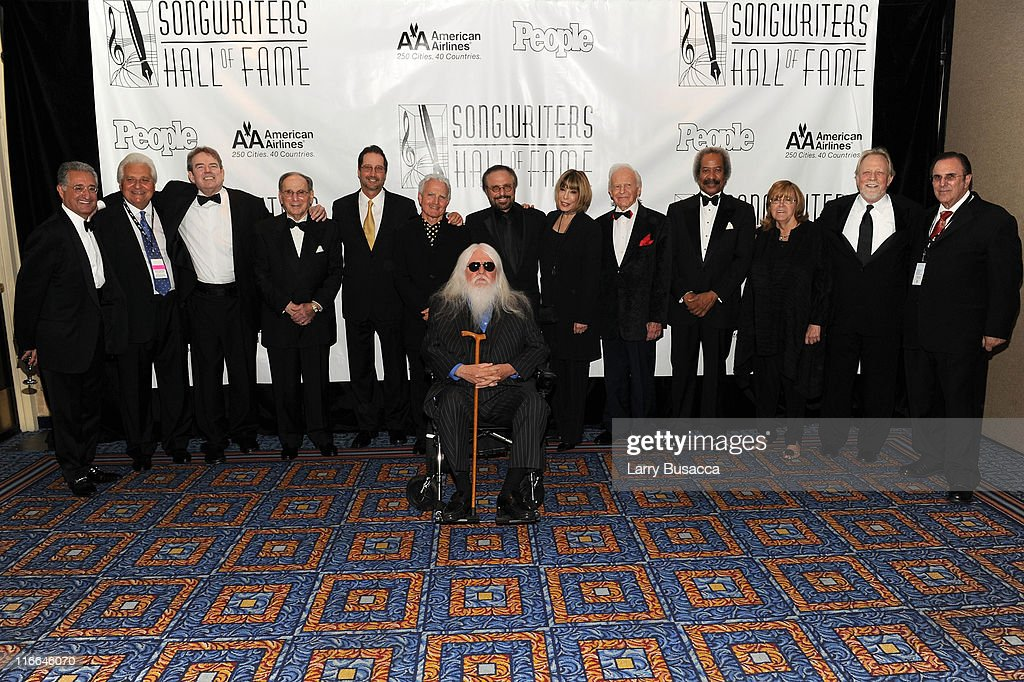 Del Bryant, Martin Bandier, Jimmy Webb, Hal David, Tom Kelly, Billy Steinberg, Barry Mann, Leon Russell (C) Cynthia Weil, Irvin Drake, Allen Toussaint, Linda Moran, John Betti and John Lofrumeto attend the Songwriters Hall of Fame 42nd Annual Induction and Awards at The New York Marriott Marquis Hotel - Shubert Alley on June 16, 2011 in New York City.