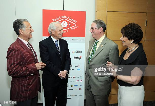 BMI CEO Del Bryant TV personality Bob Schieffer US Representatives Bob Goodlatte and Anna Eshoo at World Creators Summit on June 4 2013 in Washington...