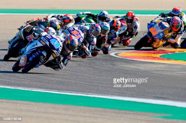 Del Conca Gresini Moto3's Spanish rider Jorge Martin leads the pack at the start of the Moto3 race of the Moto Grand Prix of Aragon at the Motorland...