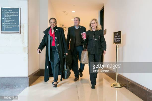 Del Eleanor Holmes Norton and US Representatives Mark DeSaulnier and Carolyn Maloney arrive to the Capitol for a closed door deposition with Mark...