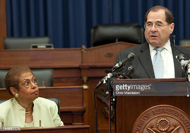 Del Eleanor Holmes Norton DDC and Rep Jerrold Nadler DNY speak at a news conference opposing HR3803 and S2103 the District of Columbia PainCapable...