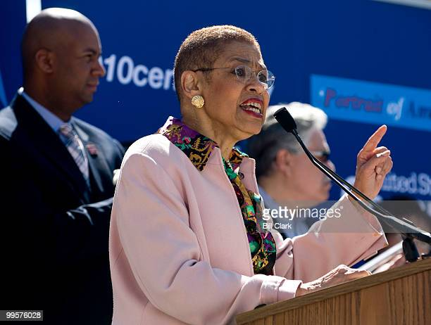 Del Eleanor Holmes Norton DDC speaks during the National Census Day rally at Freedom Plaza in Washington on Thursday April 1 2010