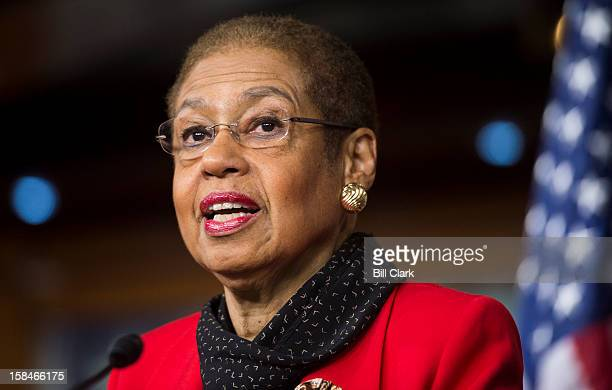 Del Eleanor Holmes Norton DDC speaks during the news conference on legislation for displaying territorial flags on US military installations on...