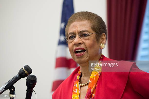 Del Eleanor Holmes Norton DDC speaks during the news conference to oppose Republican riders targeting DC's homerule authority on Tuesday May 29 2012