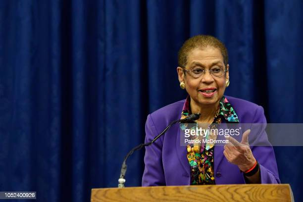 S Del Eleanor Holmes Norton speaks during the NHL Policy Lunch Briefing on October 17 2018 on Capitol Hill in Washington DC