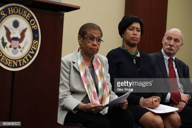 US Del Eleanor Holmes Norton Washington DC Mayor Muriel Bowser and DC Council Chairman Phil Mendelson attend a news conference May 2 2018 on Capitol...
