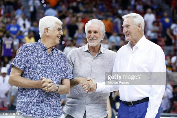 Del Harris President Pat Riley of the Miami Heat and executive board member Jerry West of the LA Clippers during the 2019 Summer League at the Thomas...