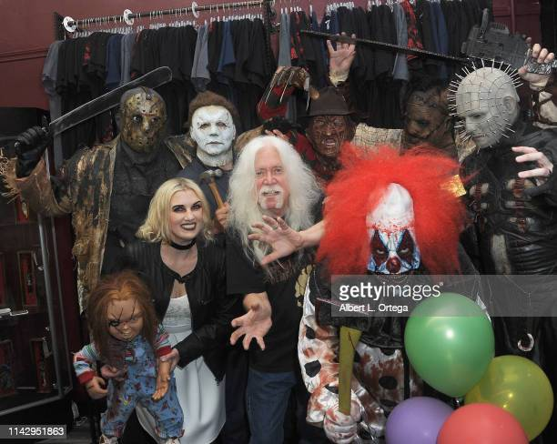 Del Howison poses with fictional characters Michael Myers Jason Voorhees Freddy Kreuger Leatherface Pinhead and Tiffany at the Dark Delicacies Grand...