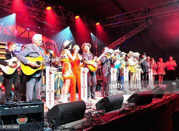 Del McCoury Old Crow Medicine Show Nikki Lane Ruby Boots Lanco and Riders in the Sky perform onstage during Grand Ole Opry at That Tent during day 4...