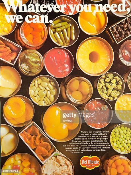 del monte 1976 ad - food journal stock-fotos und bilder
