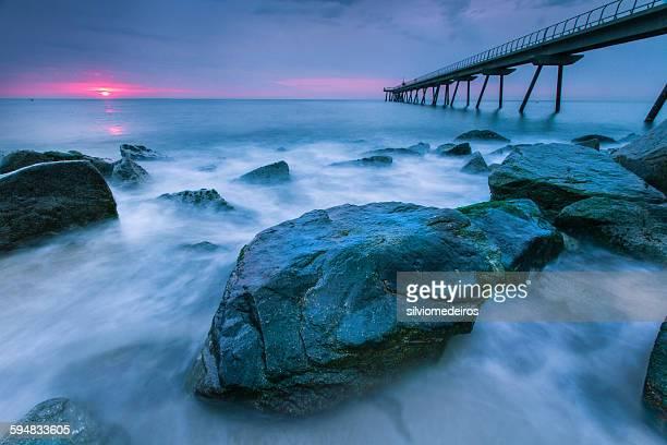 Del petroli bridge at sunrise, Barcelona, Spain