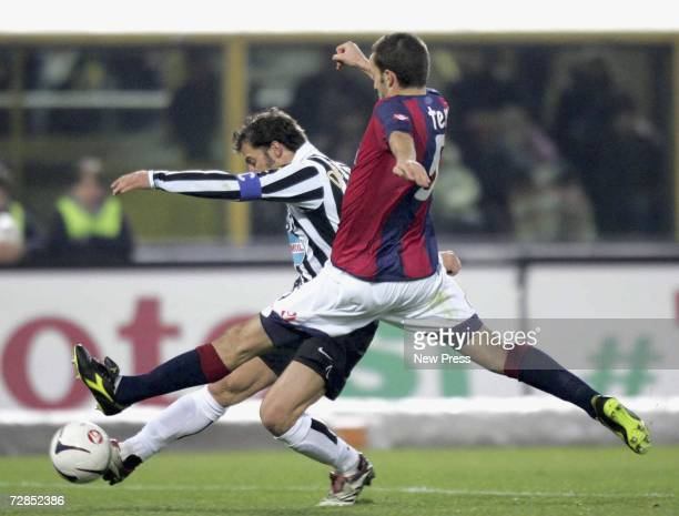 Del Piero of Juventus competes with Terzi of Bologna during the Serie B match between Juventus and Bologna December 19 2006 in Bologna Italy