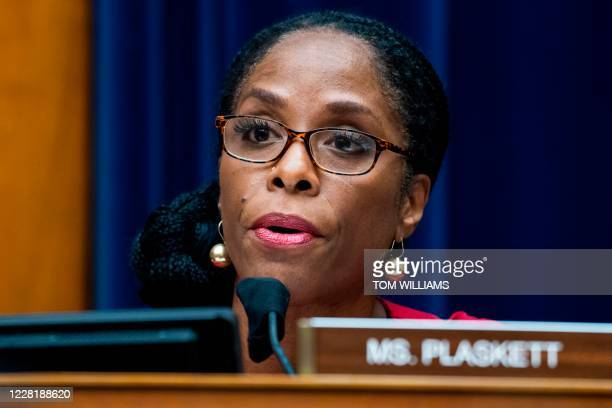 Del. Stacey Plaskett, D-V.I., questions Postmaster General Louis DeJoy during a House Oversight and Reform Committee hearing on slowdowns at the...