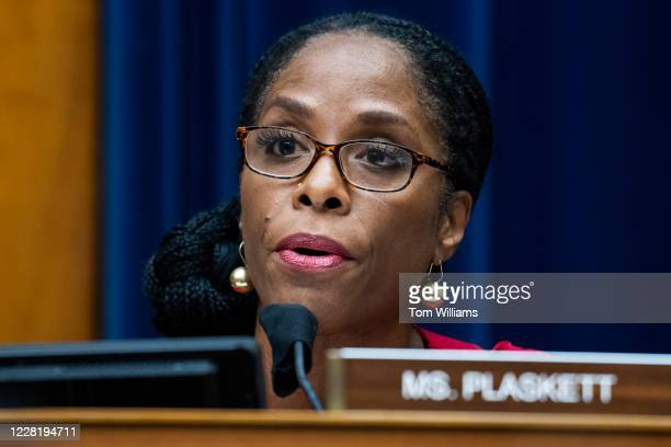 Del. Stacey Plaskett, D-V.I., questions Postmaster General Louis DeJoy during the House Oversight and Reform Committee hearing titled Protecting the...