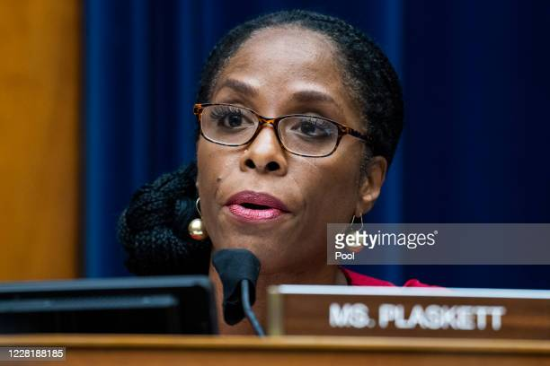 Del. Stacey Plaskett questions Postmaster General Louis DeJoy during a hearing before the House Oversight and Reform Committee on August 24, 2020 in...