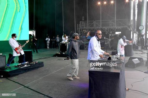 Del the Funky Homosapie Dan the Automator and Dr Octagon perform on Lands End Stage during the 2017 Outside Lands Music And Arts Festival at Golden...