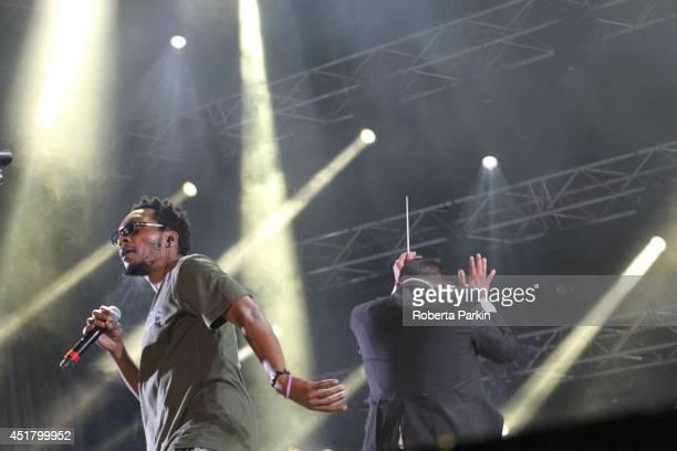 Del the Funky Homosapien and Dan the Automater of Deltron 3030 perform during the 2014 Festival International de Jazz de Montreal on July 6 2014 in...