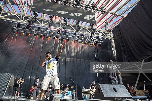 Del the Funky Homosapien and Dan the Automator of Deltron 3030 perform in concert during X Games Austin at Circuit of The Americas on June 7 2015 in...
