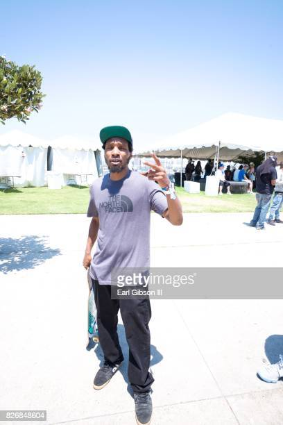 Del the Funky Homosapien poses for a photo at Summertime In The LBC on August 5 2017 in Long Beach California
