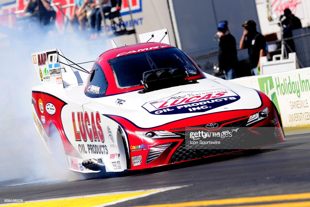 Del Worsham Toyota Camry Nhra Funny Car Does A Burnout During The
