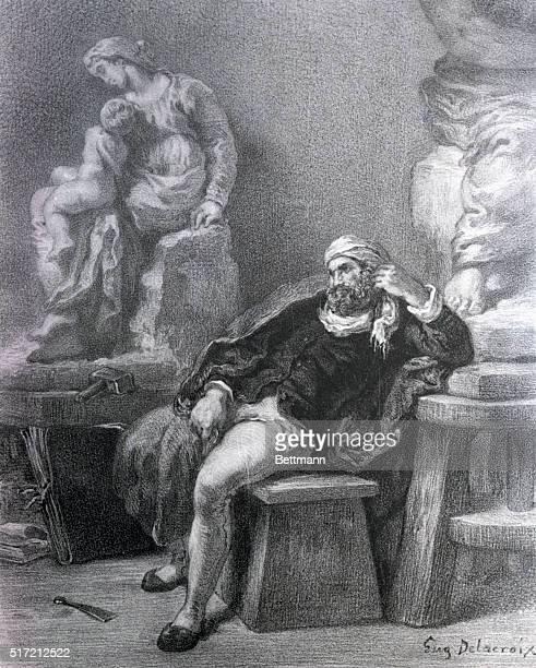Michelangelo in his study
