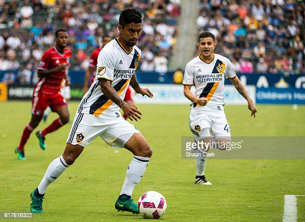 A J DeLaGarza of Los Angeles Galaxy during Los Angeles Galaxy's MLS match against FC Dallas at the StubHub Center on October 23 2016 in Carson...