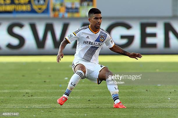 J DeLaGarza of the Los Angeles Galaxy eyes the play against the Philadelphia Union in the second half of the MLS match at StubHub Center on May 25...