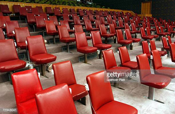 Delagates aids' seats stand empty at the Security Council chamber May 20 2003 at the United Nations in New York City In the latest UN Security Coucil...