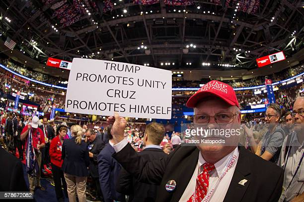 Delagates on the fourth day of the Republican National Convention on July 21, 2016 at the Quicken Loans Arena in Cleveland, Ohio. An estimated 50,000...