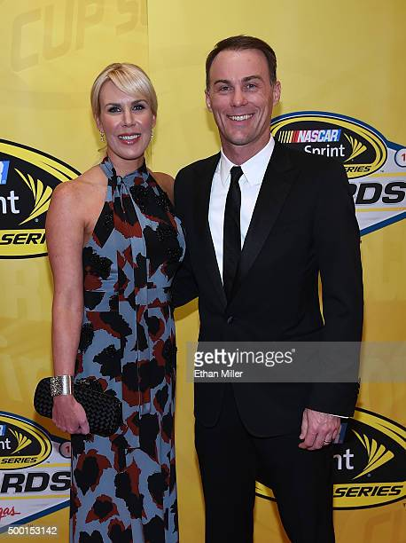 DeLana Harvick and her husband NASCAR Sprint Cup Series driver Kevin Harvick attend the 2015 NASCAR Sprint Cup Series Awards at Wynn Las Vegas on...