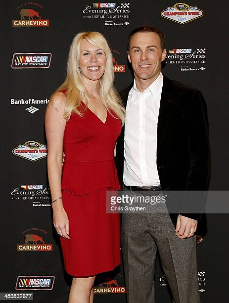 Delana Harvick and husband NASCAR Sprint Cup Series driver Kevin Harvick pose for a picture at the NASCAR Evening Series Presented by Bank of America...