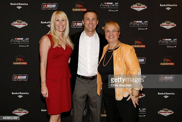 Delana Harvick and husband NASCAR Sprint Cup Series driver Kevin Harvick pose with chef Lidia Bastianich at the NASCAR Evening Series Presented by...