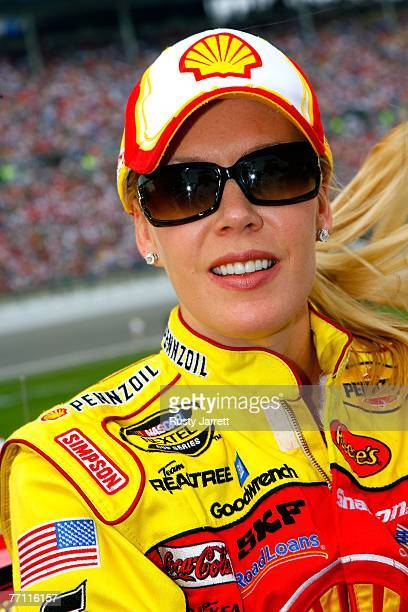 Delana Harvick, wife of Kevin Harvick, driver of the Shell/Pennzoil Chevrolet, looks on from the grid prior to the start of the NASCAR Nextel Cup...
