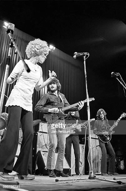 Delaney and Bonnie and friends perform on stage in Copenhagen Denmark 10 December 1969 LR Bonnie Bramlett Delaney Bramlett George Harrison Eric...