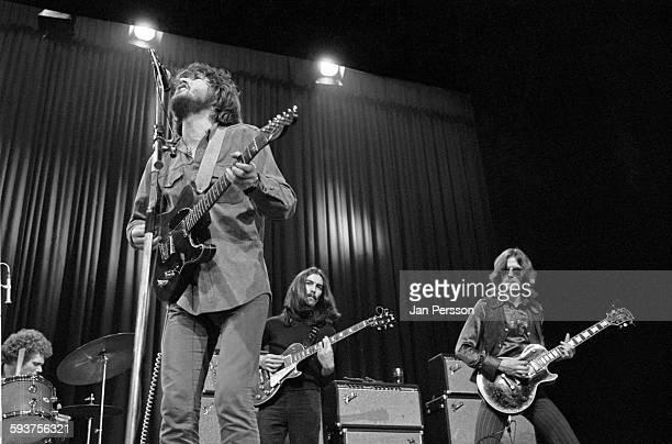 Delaney and Bonnie and friends perform on stage in Copenhagen, Denmark, 10 December 1969. L-R Jim Gordon , Delaney Bramlett, George Harrison and Eric...
