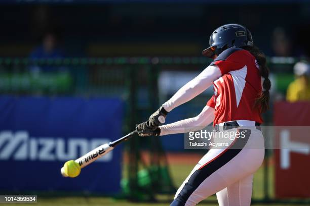 Delaney Lyn Spaulding of United States hits an RBI double in the fifth inning against Australia during their Playoff Round at ZOZO Marine Stadium on...