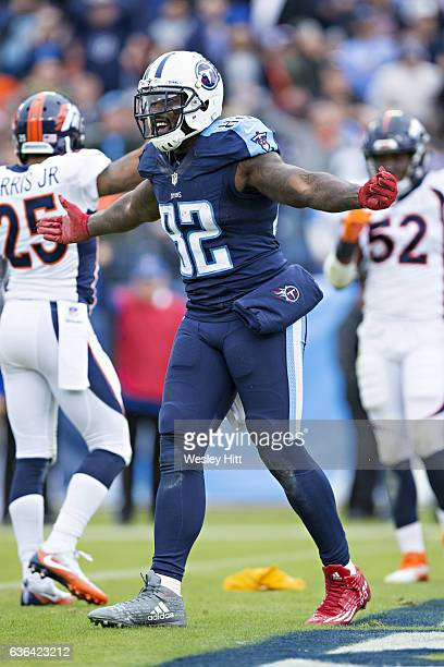Delanie Walker of the Tennessee Titans argues a call during a game against the Denver Broncos at Nissan Stadium on December 11 2016 in Nashville...