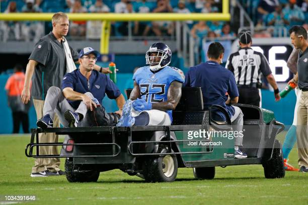 Delanie Walker of the Tennessee Titans is carted off the field after being injured against the Miami Dolphins during an NFL game on September 9 2018...
