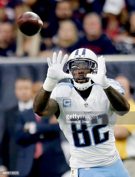 Delanie Walker of the Tennessee Titans makes a catch against the Houston Texans on November 1 2015 at NRG Stadium in Houston Texas Texans won 20 to 6