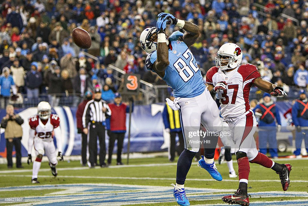 Delanie Walker #82 of the Tennessee Titans misses a pass in the end zone during a game against the Arizona Cardinals at LP Field on December 15, 2013 in Nashville, Tennessee. The Cardinals defeated the Titans 37-34.