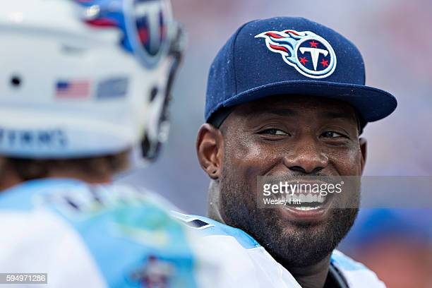 Delanie Walker of the Tennessee Titans on the sidelines during a preseason game against the Carolina Panthers at Nissan Stadium on August 20 2016 in...