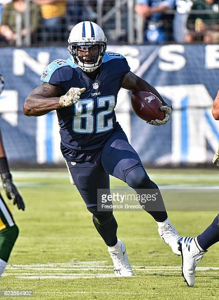 Delanie Walker of the Tennessee Titans plays against the Green Bay Packers at Nissan Stadium on November 13 2016 in Nashville Tennessee
