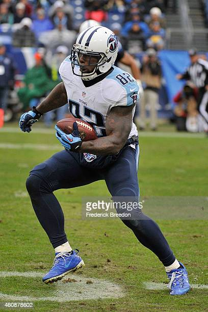 Delanie Walker of the Tennessee Titans plays against the Indianapolis Colts at LP Field on December 28 2014 in Nashville Tennessee
