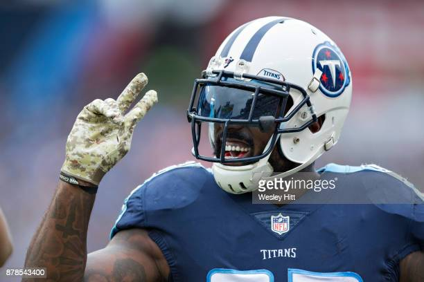 Delanie Walker of the Tennessee Titans signals first down during a game against the Cincinnati Bengals at Nissan Stadium on November 12 2017 in...