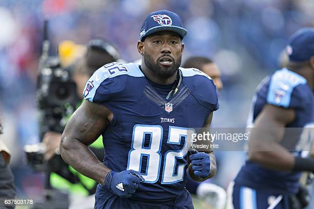 Delanie Walker of the Tennessee Titans warming up before a game against the Houston Texans at Nissan Stadium on January 1 2017 in Nashville Tennessee...