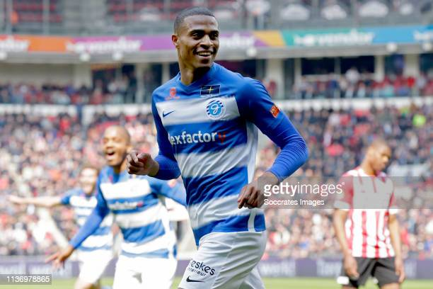 Delano Burgzorg of De Graafschap celebrates 01 during the Dutch Eredivisie match between PSV v De Graafschap at the Philips Stadium on April 14 2019...