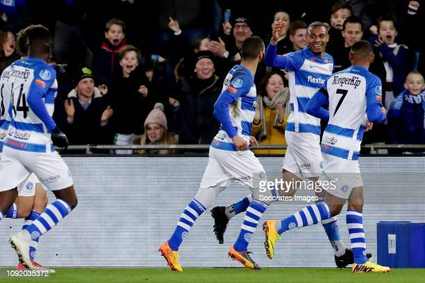 Delano Burgzorg of De Graafschap Celebrates 10 with Youssef el Jebli of De Graafschap Furdjel Narsingh of De Graafschap during the Dutch Keuken...
