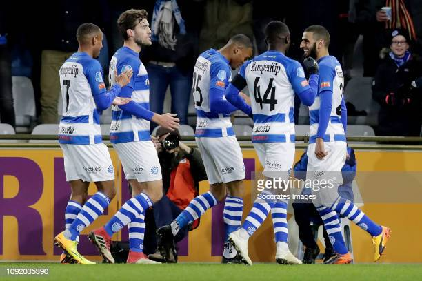 Delano Burgzorg of De Graafschap Celebrates 10 with Youssef el Jebli of De Graafschap Furdjel Narsingh of De Graafschap Leeroy Owusu of De Graafschap...