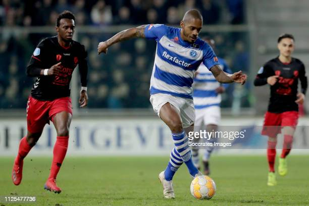 Delano Burgzorg of De Graafschap during the Dutch Eredivisie match between De Graafschap v FC Utrecht at the De Vijverberg on February 17 2019 in...