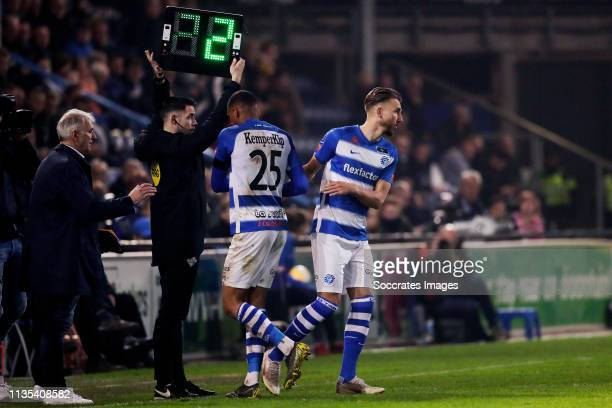 Delano Burgzorg of De Graafschap Fabian Serrarens of De Graafschap during the Dutch Eredivisie match between De Graafschap v AZ Alkmaar at the De...